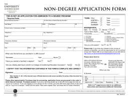 non-degree application form - University of Rhode Island