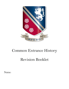 Common Entrance History Revision Booklet