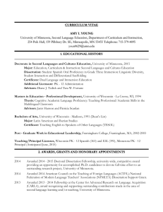 CURRICULUM VITAE AMY I. YOUNG University of Minnesota