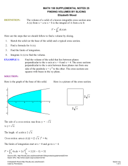 Supplemental Notes for Calculus I: Finding Volumes by Slicing