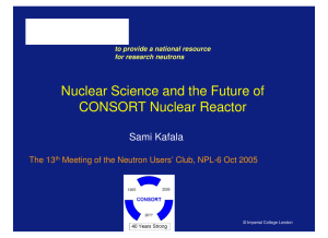 Nuclear Science and the Future of CONSORT Nuclear Reactor