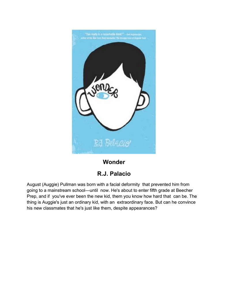 95b2b207350f Wonder RJ Palacio - Lakewood City Schools