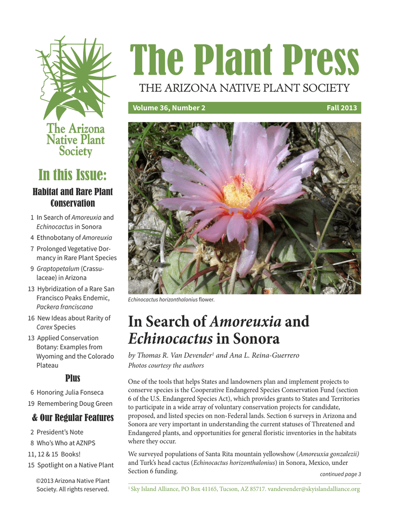The Plant Press Arizona Native Plant Society