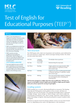 Test of English for Educational Purposes (TEEPTM)