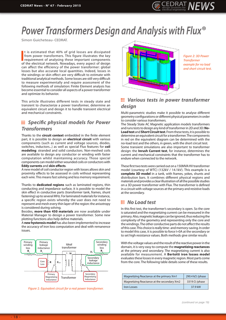 Power Transformers Design and Analysis with Flux