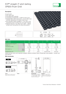 "SP620 (Flush Grid) KVP® straight 2"" pitch belting"