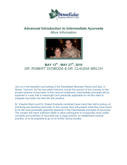 Advanced Introduction to Intermediate Ayurveda More Information