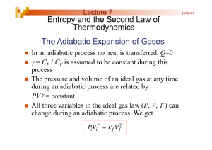 The Adiabatic Expansion of Gases Entropy and the Second Law of