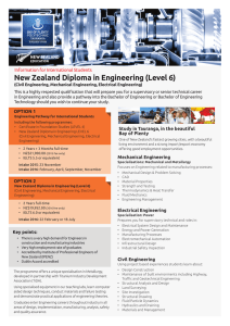 New Zealand Diploma in Engineering (Level 6) (Mechanical, Civil