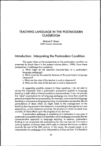 Teaching Language In The Postmodern Classroom