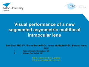 Visual performance of a new segmented asymmetric multifocal