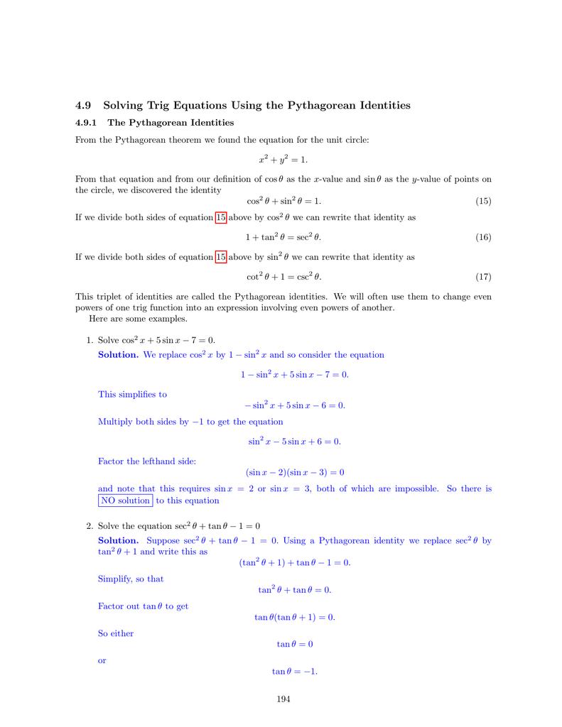 Worksheets Solving Trigonometric Equations Worksheet 4 9 solving trig equations using the pythagorean