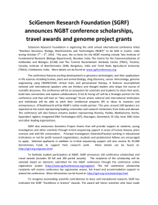 SciGenom Research Foundation (SGRF) announces NGBT