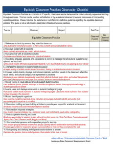 Equitable Classroom Practices Observation Checklist