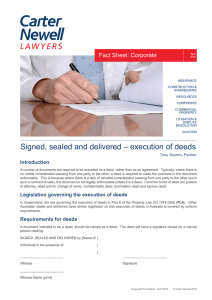 Signed, sealed and delivered – execution of deeds