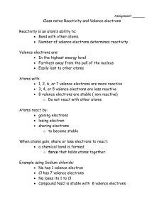 Class notes Reactivity and Valence electrons Reactivity is an atom`s