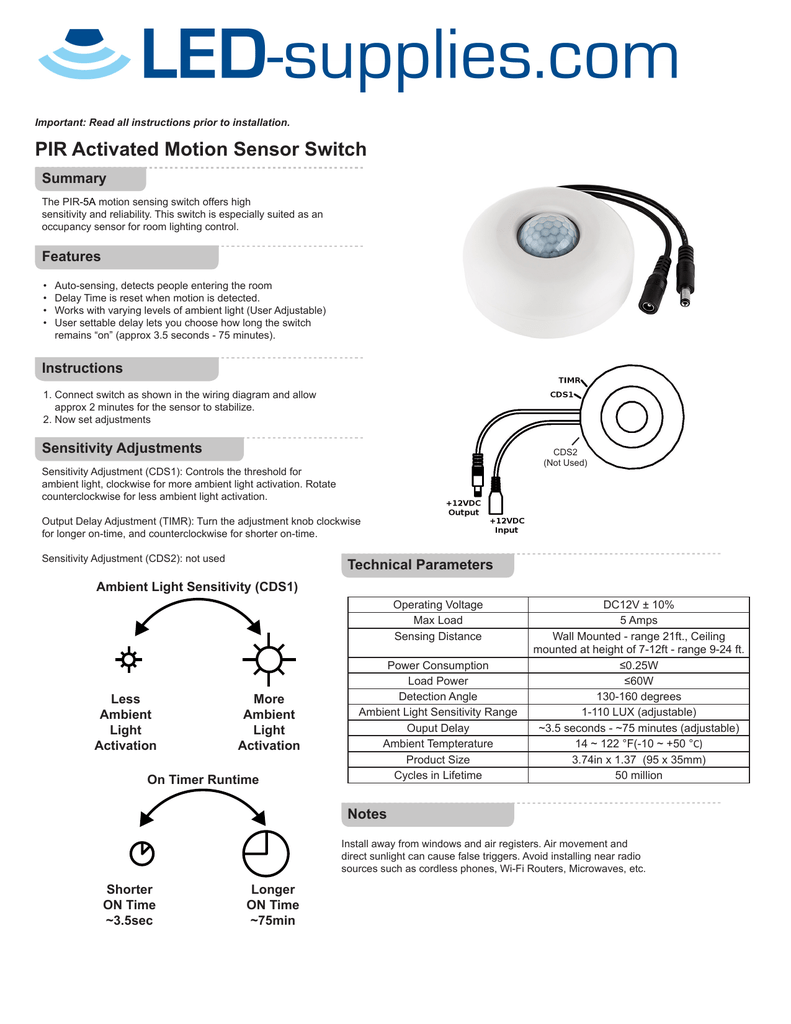 PIR Activated Motion Sensor Switch on