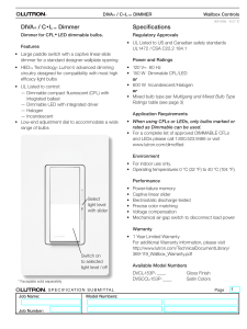 DIVA® / C•L™ Dimmer Specifications