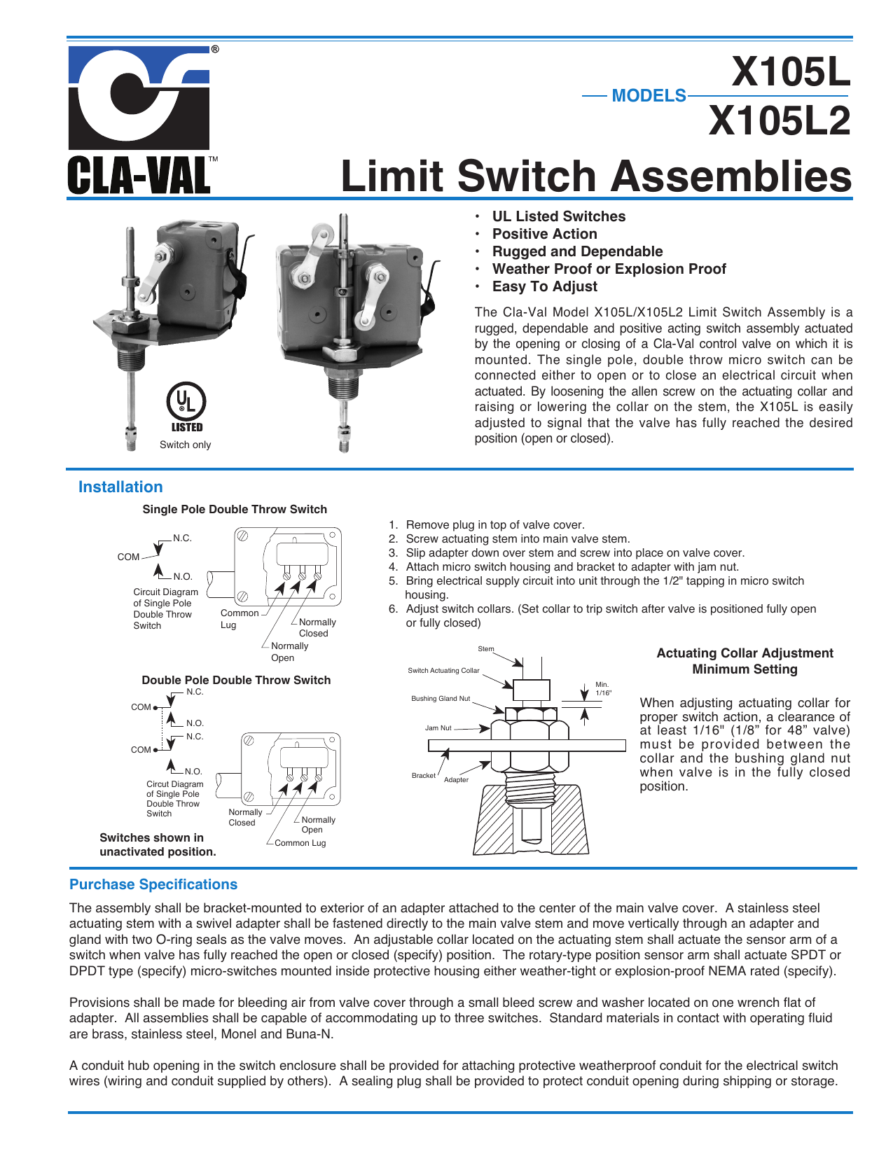Engineering Data Sheet Cla Val Double Pole Throw Switch How To Wire A Single