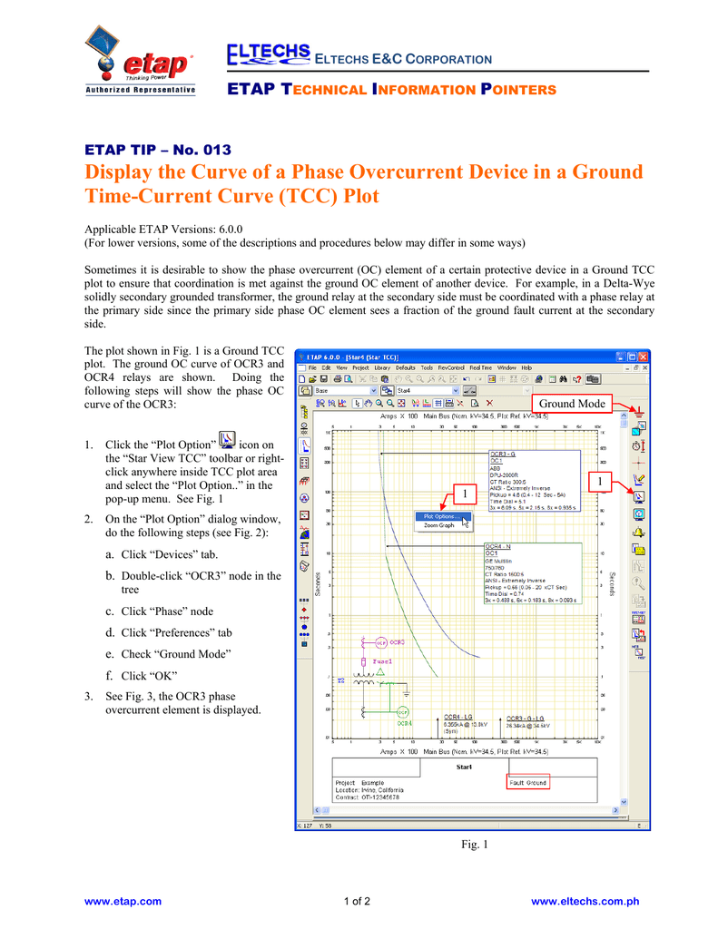 The Curve of a Phase Overcurrent Device in a TCC Plot