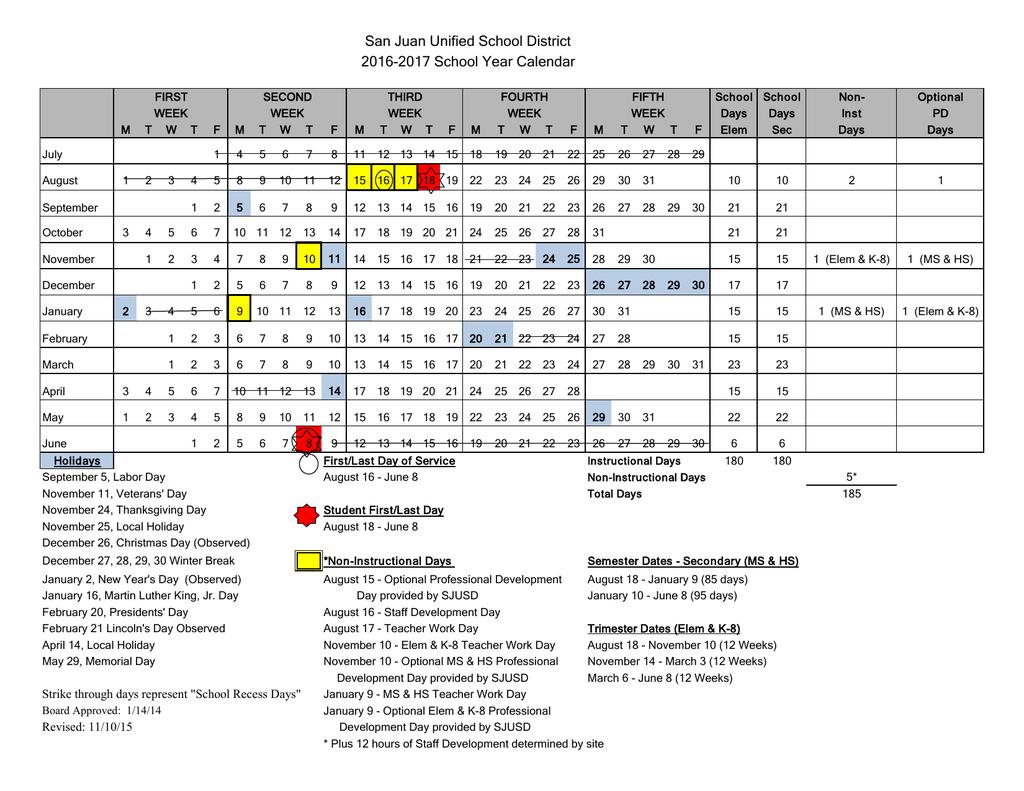 2016 17 School Year Calendar San Juan Unified School District