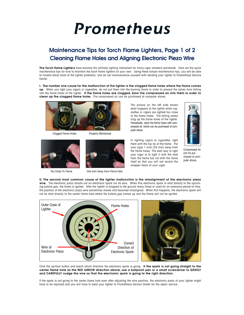 Maintenance Tips for Torch Flame Lighters, Page 1 of 2