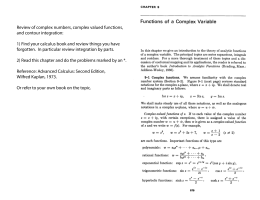 Review of complex numbers, complex valued functions, and contour