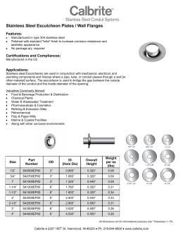 Stainless Steel Escutcheon Plates / Wall Flanges