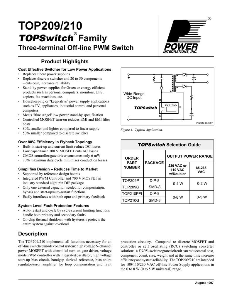 Sec 204 Top209 210 Protection Of The Mosfet In Flyback Power Supply Feature