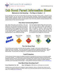 Welcome to Cub Scouting - For Boys in Grades 1