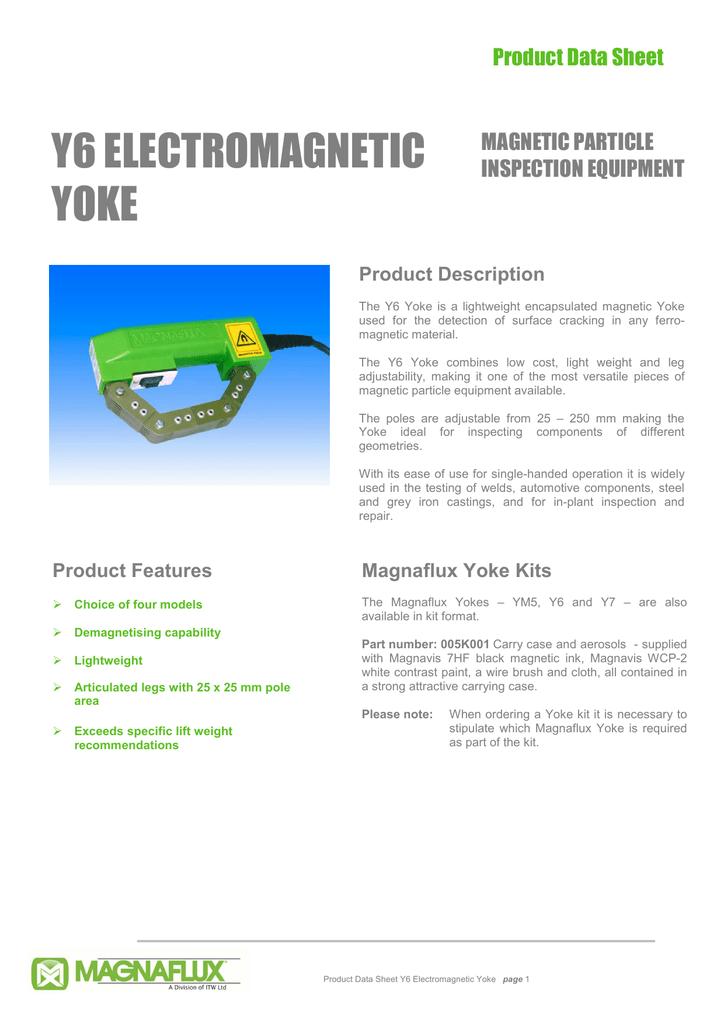 Y6 Electromagnetic Yoke Product Data Sheet