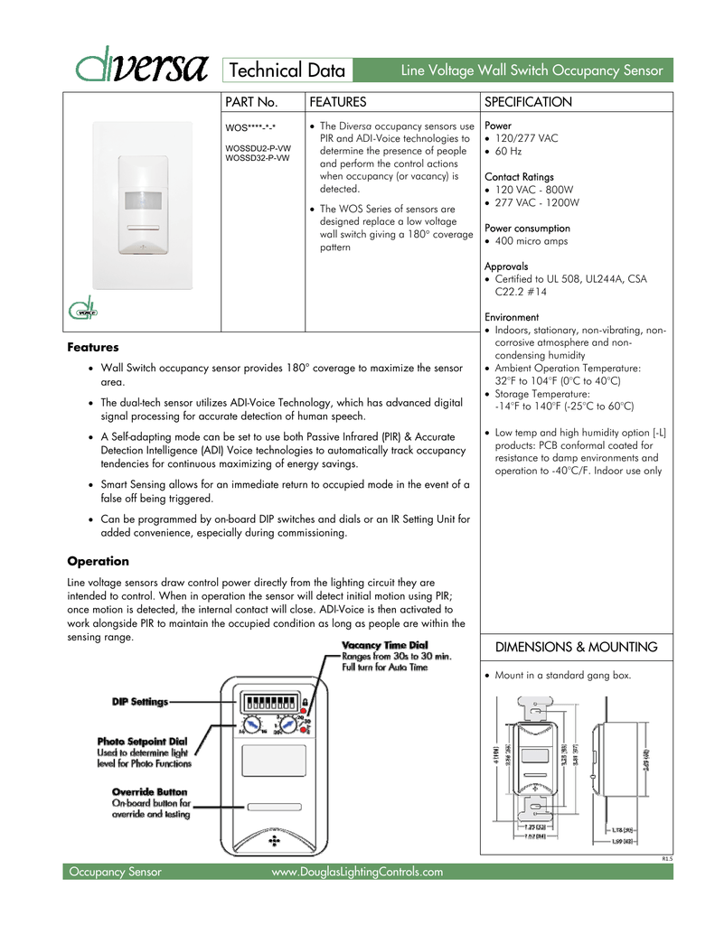 Technical Data Horton Controls Group Motion Sensor Light Switch Wiring Diagram Small Pir