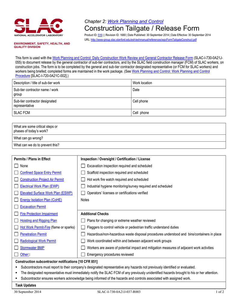 Construction Tailgate / Release Form