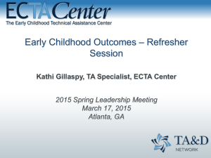 Early Childhood Outcomes – Refresher Session