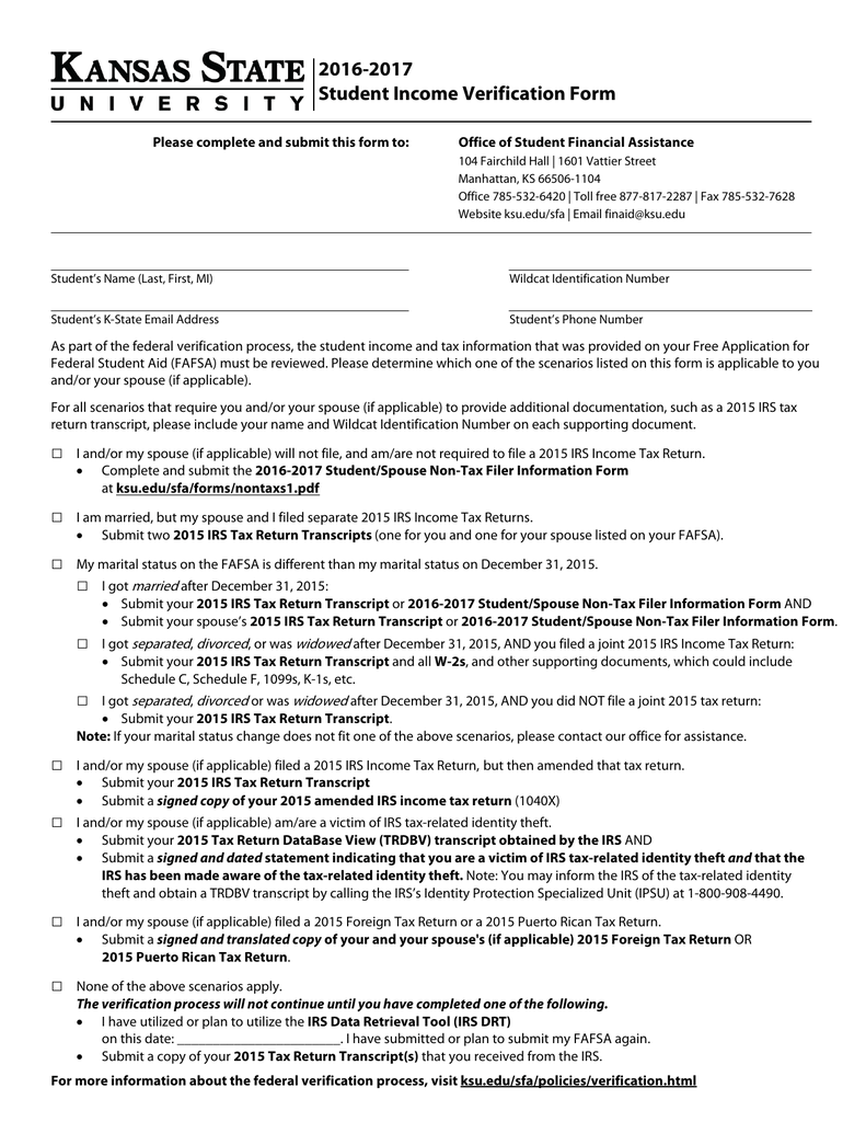 2016 2017 student income verification form falaconquin