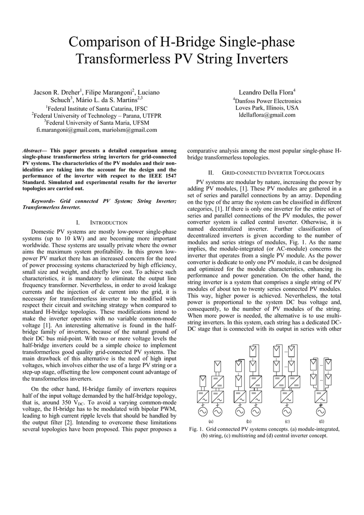 Comparison of H-Bridge Single-phase Transformerless PV String
