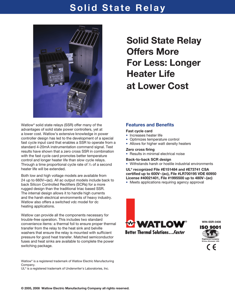 Solid State Relay Offers More For Less Longer Heater Life At Lower Latch Up