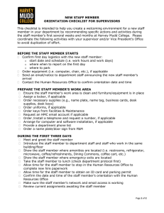 New Staff Member Orientation Checklist for Supervisors