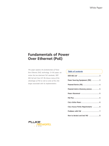 Fundamentals of Power Over Ethernet (PoE)