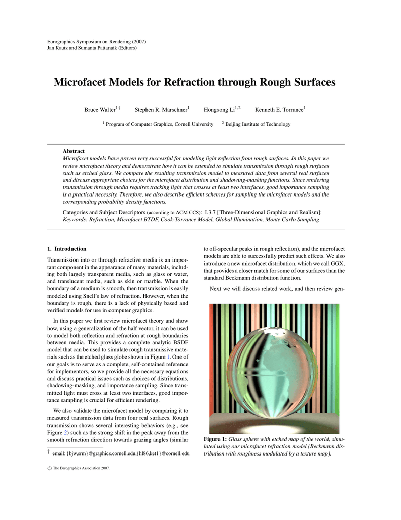 Microfacet Models for Refraction through Rough Surfaces