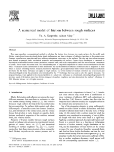 A numerical model of friction between rough surfaces