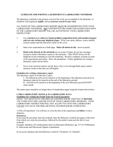 GUIDELINE FOR WRITING LAB REPORTS IN LABORATORY