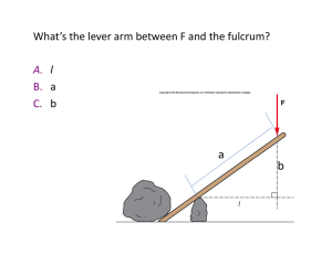 What`s the lever arm between F and the fulcrum?