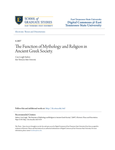 The Function of Mythology and Religion in Ancient Greek Society.