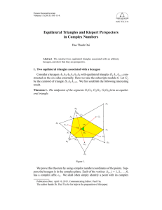 Equilateral Triangles and Kiepert Perspectors in Complex Numbers