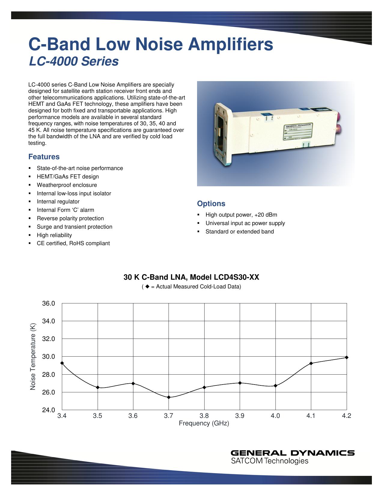 C-Band Low Noise Amplifiers - General Dynamics SATCOM