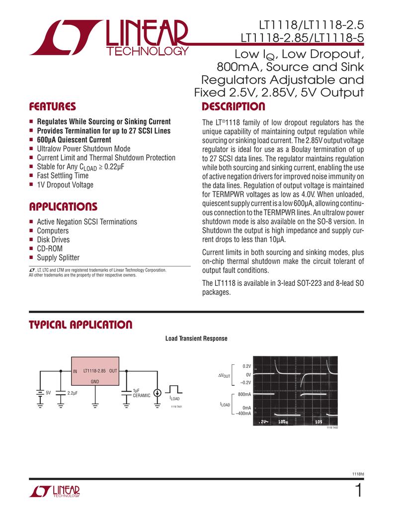 Lt1118 Low Iq Dropout 800ma Source And Sink Regulators 20 V 300 Ma Noise Cmos Ldo