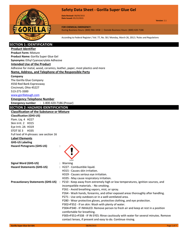 Safety Data Sheet - Gorilla Super Glue Gel