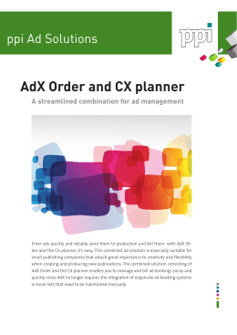 AdX Order and CX planner