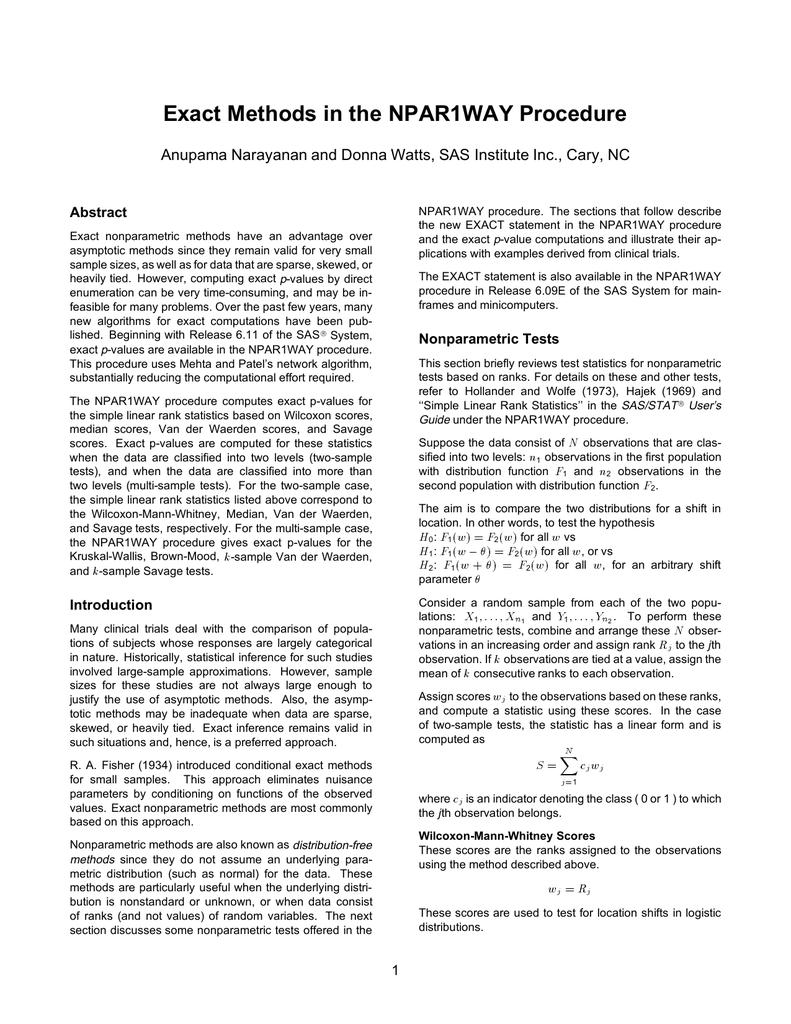 Exact Methods In The NPAR1WAY Procedure